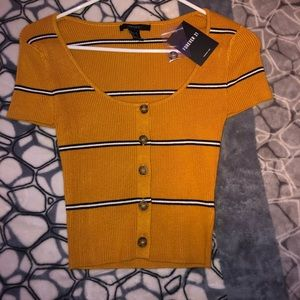 striped mustard ribbed top